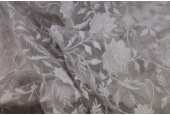 Flower and Vine Embroidered Tulle - Grey