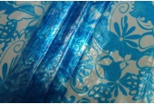 Floral Printed Clear Plastic - Blue