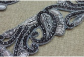 Silver Zari Work Trim with Charcoal crystals - Wide