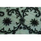 Black net metallic thread embroidery floral beading