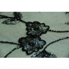 Black floral tulle with embroidered metallic silver beads