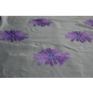 Purple chiffon with large embroidered purple flowers and small round holographic sequins