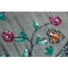 Navy chiffon with green and pink/orange sequined floral pattern and wavy stems in gun metal bugle beads