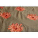 Brown/orange chiffon with large embroidered flowers
