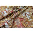 Heavy Swirl Embroidered Dupion - Red Gold and Grey