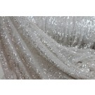 Overlapping Micro Sequin On Silk Chiffon - Iridescent Ivory