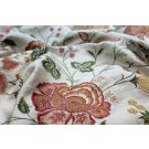 Cream Textured Raw Silk with Floral Embroidery