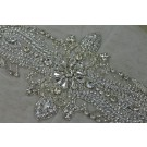 Beaded Diamante Belt Trim or Motif in Silver - Small