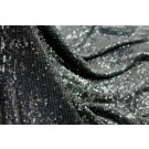 Overlapping Micro Sequin On Silk Chiffon - Black