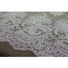 Corded Embroidered Tulle - Ivory - Double Scallop