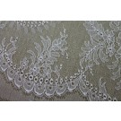White Chantilly Lace - Fern Pattern