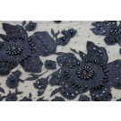 Beaded Floral Applique Tulle - Black
