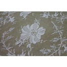 White Leavers lace in a floral/leaf cluster design with double scallop