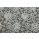 REMNANT: Floral Embroidered Tulle - Ivory - 0.55m piece