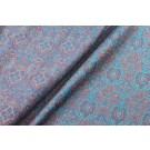 Blue, Red and Pink Paisley Pattern Wool Challis