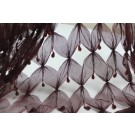 REMNANT: Burgundy cut out tulle with teardrop crystal and bugle beads - 6.8m piece