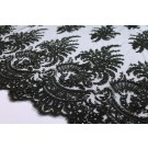 Corded Embroidered Tulle w/Sequins - Black - Double Scallop