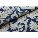 Large Gold Embroidery on Petrol Blue Silk Taffeta