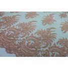 Corded Embroidered Tulle - Peach - Double Scallop
