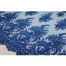 Corded Embroidered Tulle - Royal Blue - Double Scallop