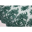 Corded Embroidered Tulle - Deep Green - Double Scallop