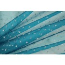Silk Organza - Turquoise with Silver Spots