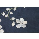 Black Silk Organza - Gold Applique Flowers