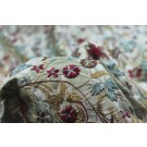 Floral Embroidery Silk Dupion - Sage and Red