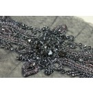 Beaded Diamante Belt Trim or Motif in Black - Small