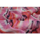 Stripe Print Silk Chiffon - Magenta, Pale Pink, Coral and Navy