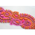 New Beaded Jewel Trim in Pink and Orange