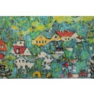 Art Print on Cotton Drill - Gustav Klimt Slope in a Forest on Atterse Lake