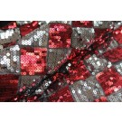 Harlequin Sequin On Tulle - Silver / Red
