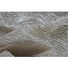 Bead and Zari Work Encrusted Wave Fabric - Gold/Ivory