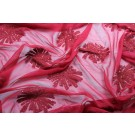 Red chiffon with large embroidered flowers and small round holographic sequins