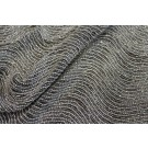 Bead and Zari Work Encrusted Wave Fabric - Silver on Black