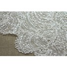 All Over Beaded Embroidered Wave on Tulle - Ivory