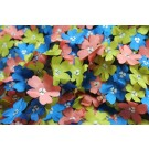 3D Cut Out Blue Coral and Chartreuse Flowers on Tulle