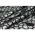Honeycomb and Leaf Embroidery in Black on Silver Metallic Dupion
