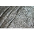Spiral Embroidery with Sequins on Pale Silver Metallic Dupion