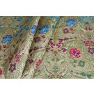 Heavy Banaras Brocade - Pale Gold, Blue, Pink, Orange