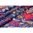 Floral Embroidery w/Sequins - Royal Blue/Pale Blue/Orange