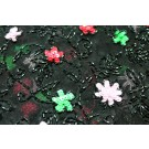 Black tulle with black floral beading and pink, red and green sequins.