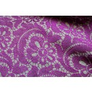 Grey Wool Embroidered with Purple