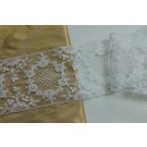White Tulle Trim with Embroidered Floral Pattern
