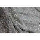 Beaded Silk Chiffon - Grey with Clear Iridescent Beads