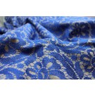 Grey Wool Embroidered with Royal Blue