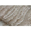 Italian Hand Beaded Lace - Blush with Pearls and Micro Beads