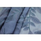 Embroidered Applique Leaf on Blue Silk Georgette