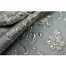 Grey and Metallic Silver Brocade